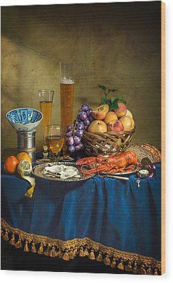 Still Life With Lobster Fruits And Great Salt Wood Print by Levin Rodriguez