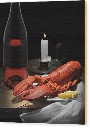 Still Life With Lobster Wood Print by Krasimir Tolev