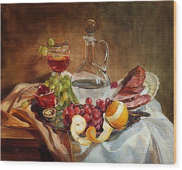 Still Life With Meat And Wine Wood Print