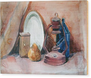 Still Life With Miners Lamp Wood Print
