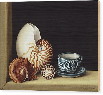 Still Life With Nautilus Wood Print by Jenny Barron