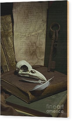 Still Life With Old Books Rusty Key Bird Skull And Feathers Wood Print by Jaroslaw Blaminsky