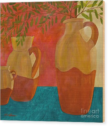 Still Life With Olive Branches II Wood Print