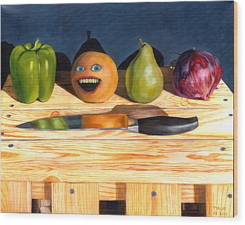 Still Life With Orange No. 1 Wood Print