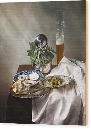 Still Life With Pass Glass-silverware-oysters And Olives Wood Print by Levin Rodriguez