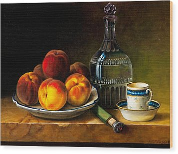 Still Life With Peaches Wood Print by Bernadette Harrison
