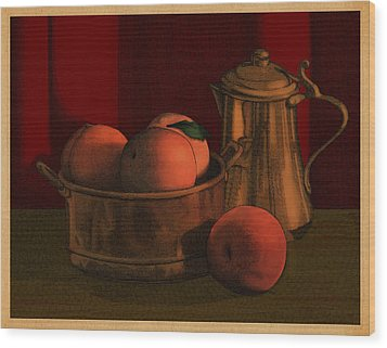 Still Life With Peaches Wood Print
