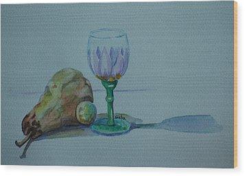 Still Life With Pear Wood Print by Venetia Bebi
