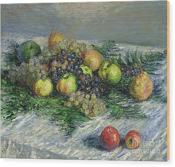 Still Life With Pears And Grapes Wood Print by Claude Monet
