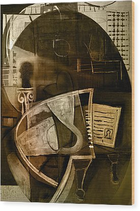 Still Life With Piano And Bust Wood Print