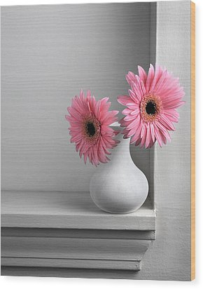 Still Life With Pink Gerberas Wood Print by Krasimir Tolev