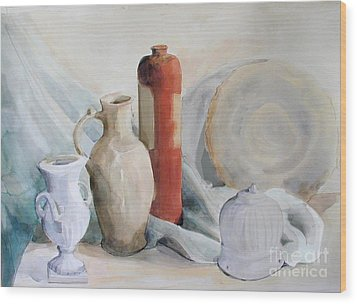 Still Life With Pottery And Stone Wood Print
