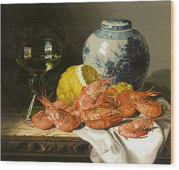 Still Life With Prawns And Lemon Wood Print by Edward Ladell