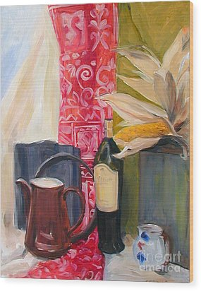 Still Life With Red Cloth And Pottery Wood Print by Greta Corens