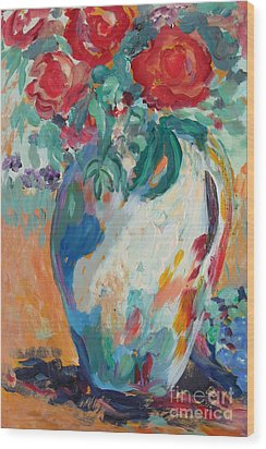 Wood Print featuring the painting Still Life With Roses Partial View by Avonelle Kelsey