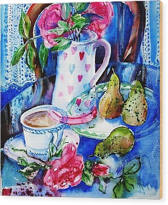 Still Life With Roses  Wood Print by Trudi Doyle