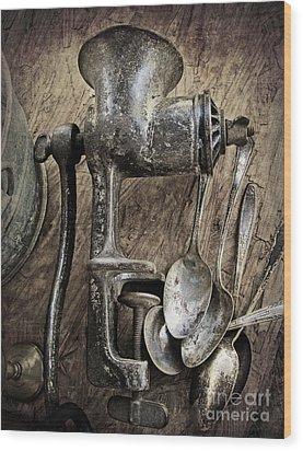 Still Life With Silverware Wood Print by Elena Nosyreva