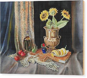 Still Life With Sunflowers Lemon Apples And Geranium  Wood Print by Irina Sztukowski