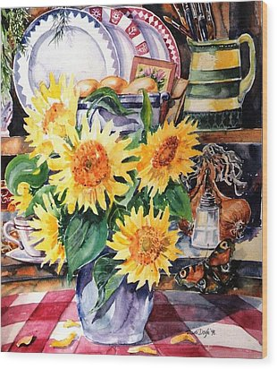 Wood Print featuring the painting Still Life With Sunflowers  by Trudi Doyle