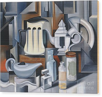 Still Life With Teapots Wood Print by Catherine Abel