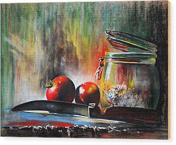 Still Life With Tomatoes Wood Print by James Skiles