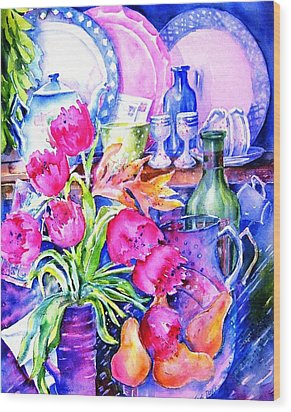 Still Life With Tulips  Wood Print by Trudi Doyle