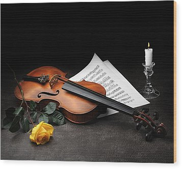 Still Life With Violin Wood Print by Krasimir Tolev