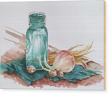Still Life With Walnuts Wood Print by Renee Goularte