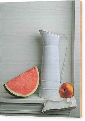 Still Life With Watermelon Wood Print by Krasimir Tolev