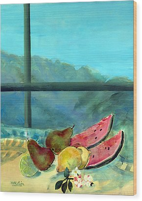 Still Life With Watermelon Wood Print by Marisa Leon