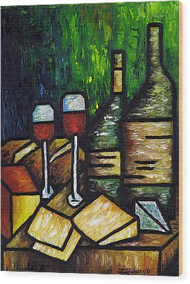 Still Life With Wine And Cheese Wood Print by Kamil Swiatek