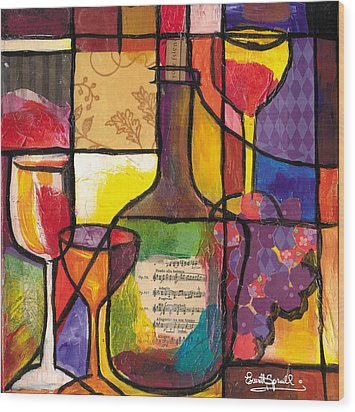 Still Life With Wine And Fruit Wood Print by Everett Spruill