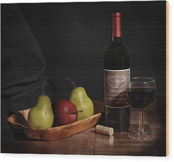 Still Life With Wine Bottle Wood Print by Krasimir Tolev