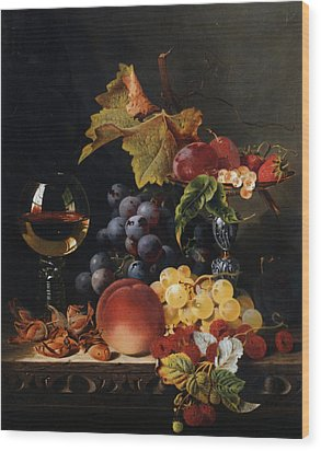 Still Life With Wine Glass And Silver Tazz Wood Print by Edward Ladell