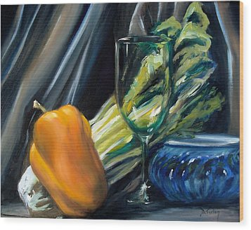 Still Life With Yellow Pepper Bok Choy Glass And Dish Wood Print by Donna Tuten