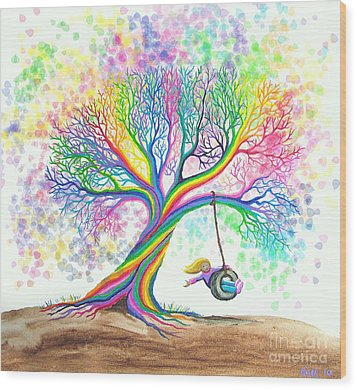 Still More Rainbow Tree Dreams Wood Print by Nick Gustafson