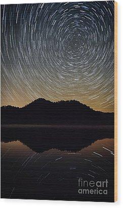 Still Water Star Trails Wood Print by Anthony Heflin