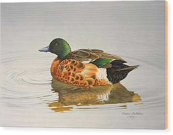 Still Waters - Chestnut Teal Wood Print by Frances McMahon