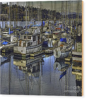 Wood Print featuring the photograph Still Water Masts by Jean OKeeffe Macro Abundance Art