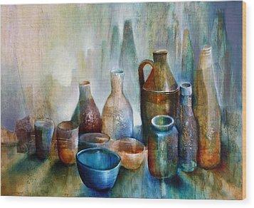 Stillleben Mit Blauer Schale Wood Print