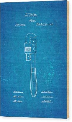Stillson Wrench Patent Art 1870 Blueprint Wood Print by Ian Monk