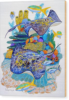 Stingray Play Wood Print by Carey Chen