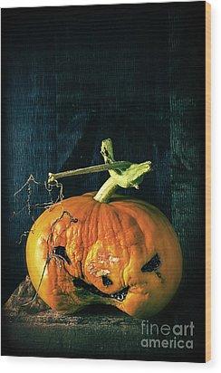 Stingy Jack - Scary Halloween Pumpkin Wood Print by Edward Fielding