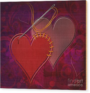 Stitched Hearts Wood Print by Bedros Awak