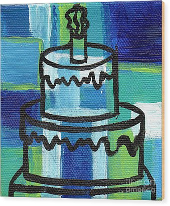 Stl250 Birthday Cake Blue And Green Small Abstract Wood Print by Genevieve Esson