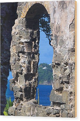 Stlucia - Ruins Wood Print by Gregory Dyer