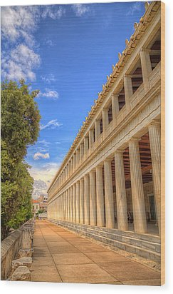 Wood Print featuring the photograph Stoa Of Attalos by Micah Goff