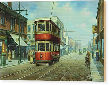 Stockport Tram. Wood Print by Mike  Jeffries