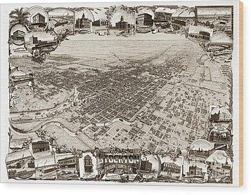 Stockton San Joaquin County California  1895 Wood Print by California Views Mr Pat Hathaway Archives