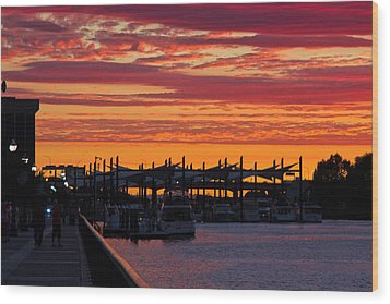 Stockton Sunset Wood Print by Randy Bayne